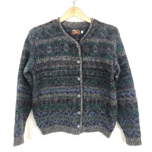 Alps Vintage Mohair Nordic Striped Cardigan